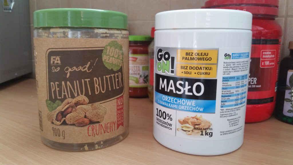 masło orzechowe crunchy z kawałkami orzechów porównanie opakowań