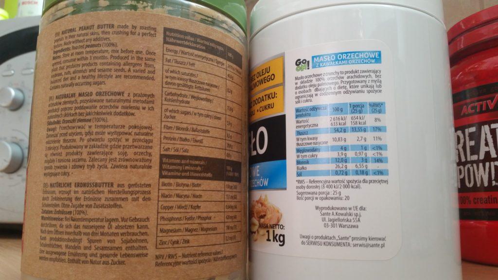 Porównanie składu na etykietach masła orzechowego - wartości odżywcze