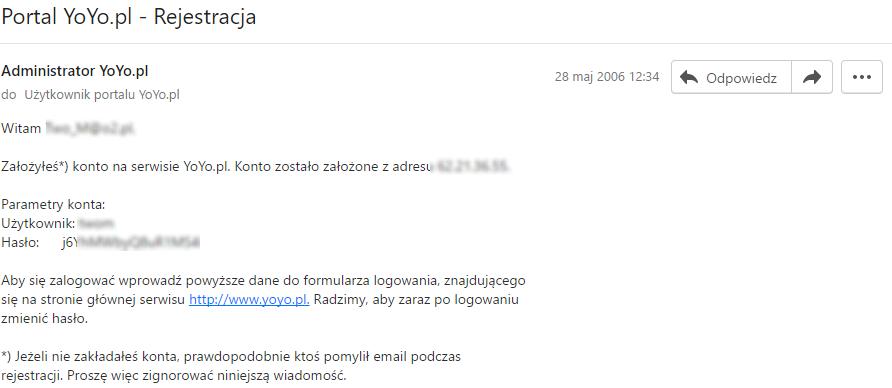 Mail potwierdzający otwarcie konta hostingowego na yoyo.pl